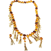 REDUCED SCHIAPARELLI Massive Amber & Topaz Crystals, Fringe Tassels, Pendant Drop Necklace and