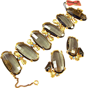 SCHIAPARELLI 'Checkerboard'/Multi-faceted Oval Smoky Topaz and Citrine Kite Crystals Link ...