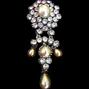 SCHREINER Faux Baroque Pearl and Diamante Pendant Clip/Pin