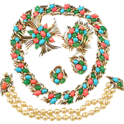 REDUCED TRIFARI Moghul 'Jewels of India' Simulated Turquoise, Coral, Jade Necklace, Clip ...