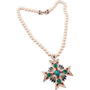 TRIFARI 'Alfred Philippe' Simulated Pearl, Ruby, Sapphire, Emerald and Diamante 'Jewels of ...