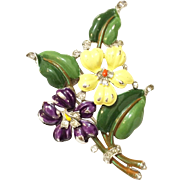 REDUCED TRIFARI 'Alfred Philippe' Purple and Yellow Enamel Pansy Pin/Clip