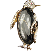 TRIFARI 'Alfred Philippe' Sterling Pave Lucite 'Jelly Belly' Penguin Pin