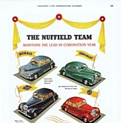 1953 Ads - Nuffield MOTOR CARS - 'Coronation Year' / DUNLOP - 'Westminster Abbey' (on reverse)