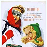 1948 Ads w/ SKI Theme - NABOB Coffee / PLAYER'S Cigarettes (on reverse)