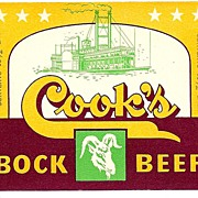 THREE Vintage BEER Labels - Cook's Bock Beer - Evansville, Indiana Brewery c.1950s
