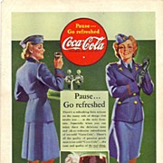 SOLD 1942 Ads - Coca-Cola COKE - 'WWII U.S. Service Women' / NASH-Kelvinator - 'Fighter Plane