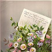 Antique PRINT - 'DAISIES & MYRTLE' ~ Victorian Chromolithograph c.1880s