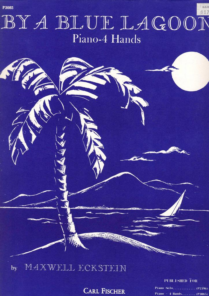 'By A Blue Lagoon' by Maxwell Eckstein - Vintage Sheet Music w/ Hawaiiana Motif Cover Art