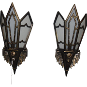 Art Deco Wall Sconces - Bronze with Glass Panels