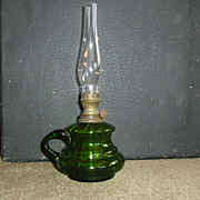 Emerald Green Miniature Kerosene Oil Finger Lamp