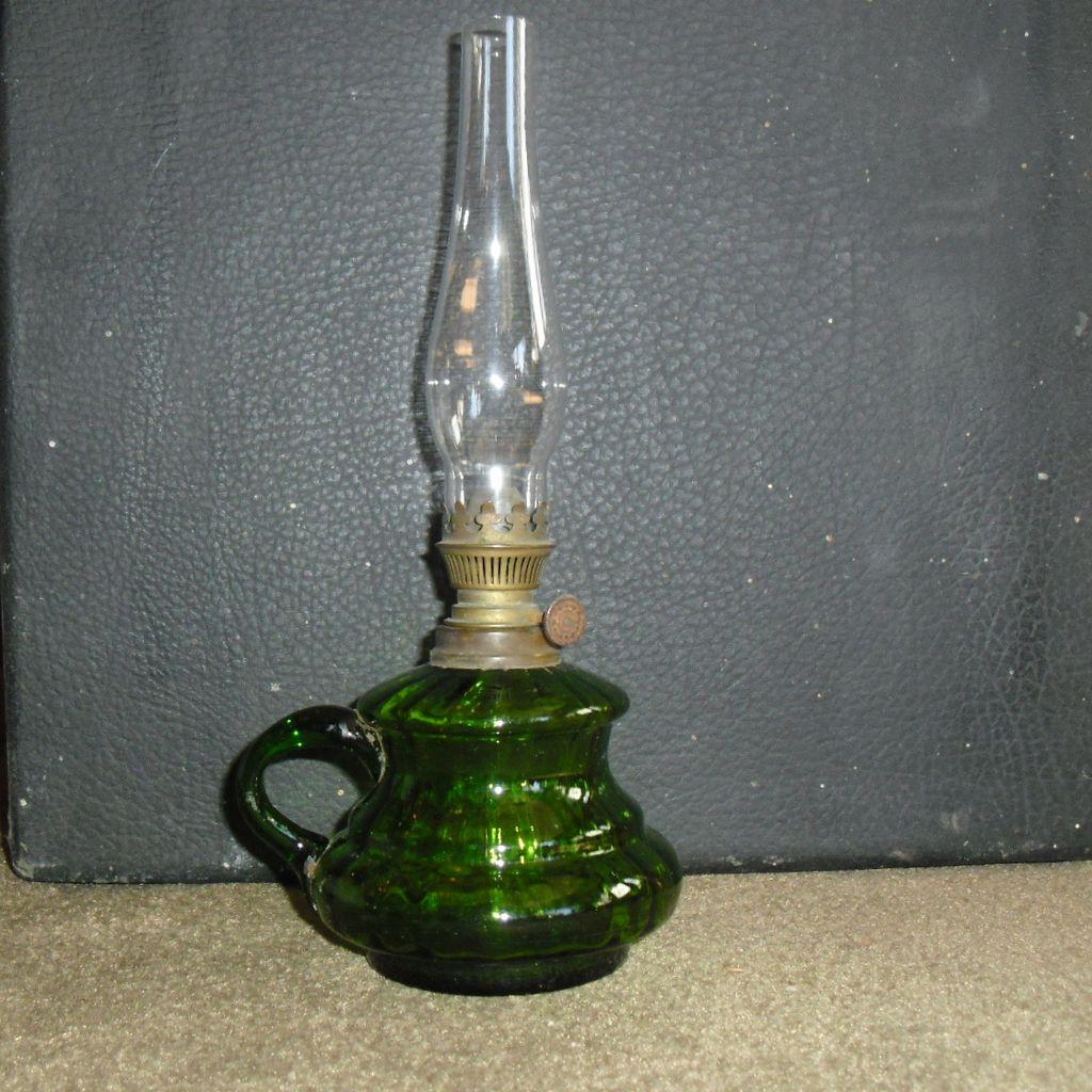 Emerald Green Miniature Kerosene Oil Finger Lamp