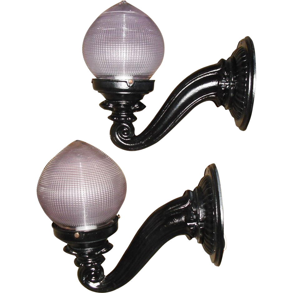 Victorian Iron Porch Lights with Holophane Dental shades