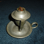 Early Gimbaled Pewter Whale Oil Lamp