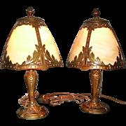 Bent Panel Boudoir Table Lamps - Matched Pair