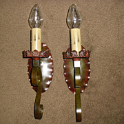 Spanish Revival Iron Wall Sconces - 2 pairs available