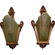 Art Deco Slip Shade Wall Sconces - Moe Bridges - 2 pairs available
