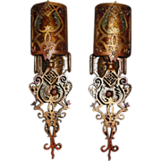 Spanish Revival Wall Sconces w Mica Shields - 4 pairs available