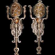 Lincoln Cast Bronze Tudor Sconces w Mica Shields - 2 pairs available