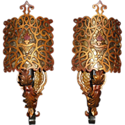 Spanish Revival Wall Sconces w Mica Shields