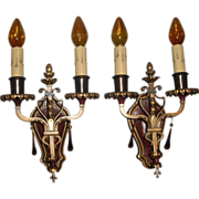 Spanish Revival Iron & Bronze Wall Sconces - with Polychrome Finish