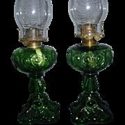 Pair Emerald Green Bullseye Kerosene Oil Lamps