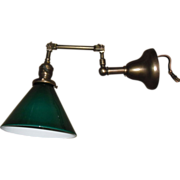 Faries Adjustable Swing Arm Wall Light w Green Cased Shade - 2 available