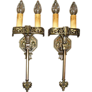 Tudor Cast Bronze Double Candle Wall Sconces - 2 pairs available