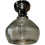 Holophane Ceiling Light in Polished Nickel Fixture