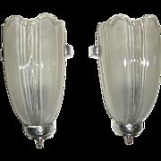 Art Deco Machine Age Slip Shade Wall Sconces - pair