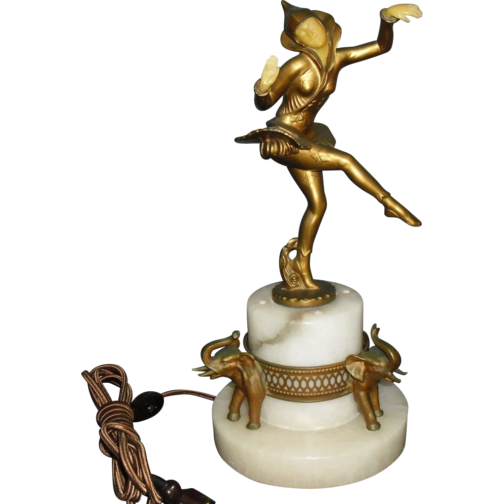 Novelty Lamp Base : Art Deco Pixie or Harlequin Novelty Lamp w Alabaster; Elephant Base from sherlocksantiquelights ...