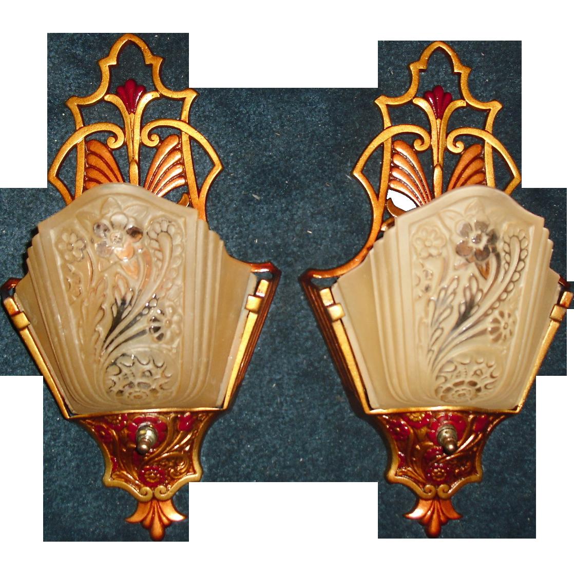 Art Deco Slip Shade Wall Sconces : Art Deco Slip Shade Wall Sconces w Consolidated Glass Shades