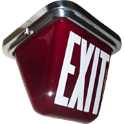 Art Deco Double Sided Ruby Red Exit Ceiling Light