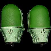 Art Deco Slip Shade Green Porcelain Wall Sconces