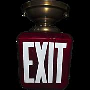 Deep Red Glass Triangular Exit Light Ceiling Fixture