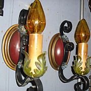 Spanish Revival Wall Sconces with Polychrome Finish