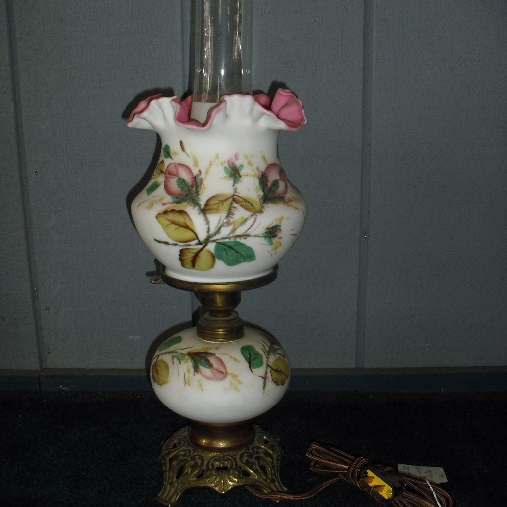 Fenton Table Lamp Hand Painted Cased Glass In Moss