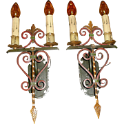 Large Iron & Bronze Spanish Revival Wall Sconces