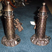 Pair of Cast Bronze Miniature Lighthouse Lamps
