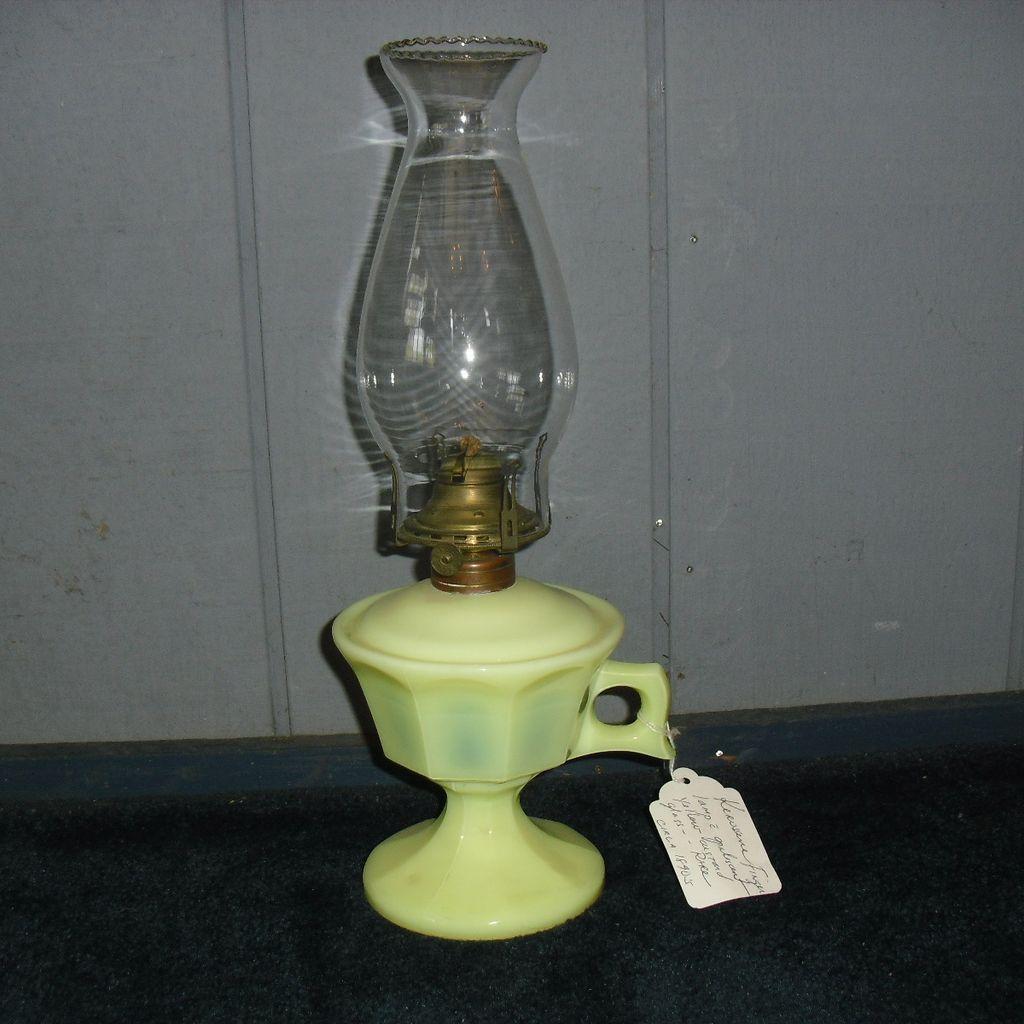 Opalescent Yellow Custard Glass Finger Kerosene Oil Lamp