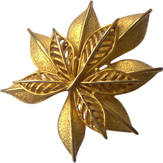 Double Leaf Brooch by Coro