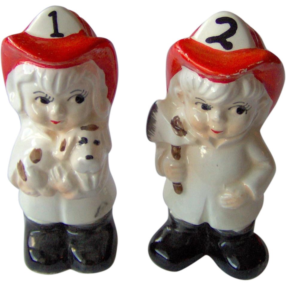 Cute Boy And Girl Firefighter Salt And Pepper Shakers From