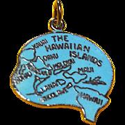 REDUCED Vintage Hawaiian Islands Sterling Enamel HAWAII Map Charm