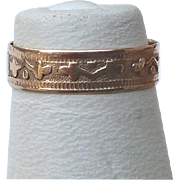 Dated 1878 Victorian ROSE Gold Baby Patterned Band Ring