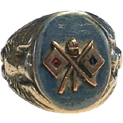 WWII US Army Signal Corps Sterling Enamel Ring