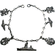 WWII Sterling Army Air Corps, Navy, Army Charm Bracelet