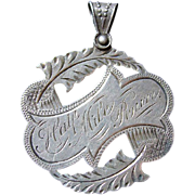 Antique Victorian Hand Engraved Silver Sports Award Medal Pendant