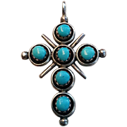 2 Sided Native American Turquoise Coral Sterling Silver CROSS Necklace