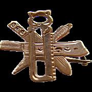 RARE 19th Century Victorian 10K Gold Butcher Trade Tools Pin