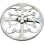 Hand Crafted Art Deco Sterling Pierced Pin Brooch